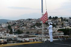 A Sailor conducts evening colors aboard the amphibious assault ship USS Bataan in Kusadasi, Turkey. Bataan's presence in Turkey reaffirmed the United States' commitment to strengthening ties with NATO allies and partners, while working toward mutual goals of promoting peace and stability in the region. #AmericasNavy #USNavy #Navy navy.com