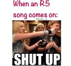 Once my brother and I were talking and we were watching Disney Channel then Pass Me By came on. I put my hand on his mouth the whole time while watching it. I think he even bit me but I didn't care, it was R5 time! ;)