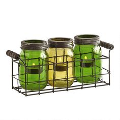One of my favorite discoveries at Christmas Tree Shops andThat! - Green  Yellow Mason Candle Jar Set in Wire Basket