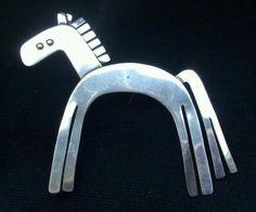 Vintage Sterling Silver Large Modernist Horse Brooch