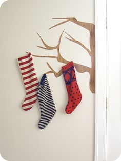 Stocking tree for when you don't have a fire place Christmas Love, Christmas And New Year, All Things Christmas, Christmas Holidays, Christmas Decorations, Xmas, Holiday Crafts, Holiday Fun, Holiday Decor