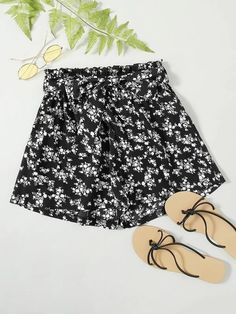 ((Affiliate Link)) Description Style:	Boho Color:	Black and White Pattern Type:	Ditsy Floral Details:	Belted, Frill Type:	Wide Leg Season:	Summer Composition:	95% Polyester, 5% Spandex Material:	Polyester Fabric:	Non-stretch Sheer:	No Fit Type:	Loose Waist Type:	High Waist Closure Type:	Elastic Waist Belt:	Yes