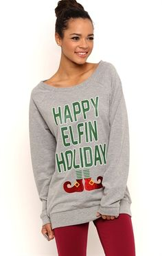Deb Shops Long Sleeve French Terry Tunic Top with Happy Elfin Holiday Screen $10.25