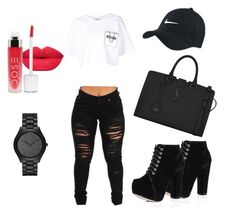 """""""Pretty in B&W⚫️⚪️"""" by tay-liangg on Polyvore featuring Michael Kors, Moschino, Yves Saint Laurent, women's clothing, women, female, woman, misses and juniors"""
