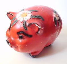 Large Vintage Chalkware Piggy Bank Mexico by PoorLittleRobin, $50.00