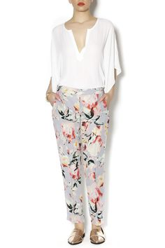 Brightly patterned floral pants with loose-fit