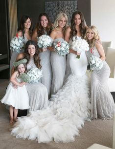 Silver & White Wedding Inspiration - If you're on the hunt for a chic, sophisticated, and classic color palette, look no further than - White Wedding Bouquets, Blue Wedding Dresses, Wedding White, Silver Color Palette, Luulla Dresses, Silver Bridesmaid Dresses, Bridesmaids, Winter Wedding Colors, Marie