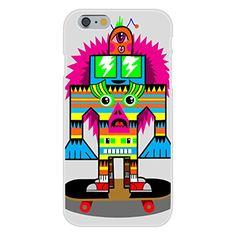Apple iPhone 6 Custom Case White Plastic Snap On - 'Punk Skate Totem' Skateboarding Colorful Totem Poll Cartoon