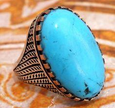Unique 925 Sterling Silver Men Ring Arabic Natural Turquoise Feroza Stone