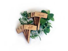 Custom Etched Wood Herb Garden Plant Markers / Set of by MileNine,