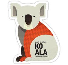 'Retro Koala' Sticker by printedsparrow Australian Animals, Australian Art, Platypus, Wombat, Animal Nursery, Emu, Kangaroo, Wildlife, Stationery