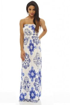 AX Paris Womens Cream Lightweight Printed Maxi Dress Stylish Ladies Fashion