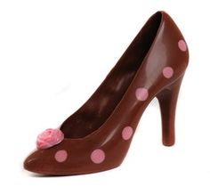 Cocco, Milk chocolate shoe with pink polka dots from Azra Chocolates