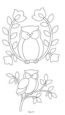 Owl applique or redwork. Applique Templates, Applique Patterns, Quilt Patterns, Owl Templates, Cross Stitch Embroidery, Hand Embroidery, Embroidery Designs, Simple Embroidery, Beginner Embroidery
