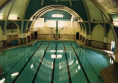 Urmston baths prior to opening, Manchester, England, United Kingdom, photographer unknown. Swimming Pool Designs, Swimming Pools, Baths Interior, Vintage Children Photos, Manchester England, Art Deco Buildings, Salford, Derbyshire, Past Life