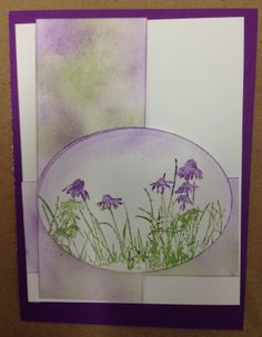 """By Deb.-Flowers stamped in purple & green on die cut an oval. Edges distressed with purple. Same inks to distress 2 strips of white cardstock. """"Meadow"""" stamp set by Inkadinkado."""