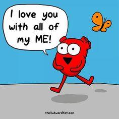 The awkward yeti Akward Yeti, The Awkward Yeti, Cartoon Heart, Cute Cartoon, Funny Cartoons, Funny Comics, Heart And Brain Comic, Life Comics, Love You