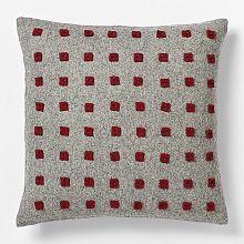 Felt Square Pillow via West Elm Diy Pillows, Throw Pillows, West Elm Bedding, Contemporary Pillows, Felt Squares, Beds For Sale, Christmas Fashion, Red And Grey, Home Decor Furniture