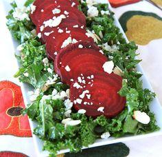 kale & beet salad with warm shallot dressing