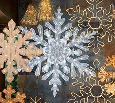 Oversized Lit Plastic Snowflake | Pottery Barn