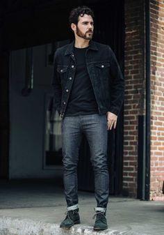 Look Right: A força da jaqueta jeans preta - Moda Masculina - Outfit Hombre Casual, Casual Fall Outfits, Men's Outfits, Stylish Outfits, Winter Outfits, Summer Outfits, Mens Fashion Suits, Denim Fashion, Fashion Boots