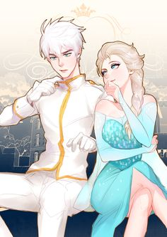 A collection of Jelsa fan art featuring Frozen's Queen Elsa and Rise of the Guardians' Jack Frost. Disney Couples, Disney Love, Disney Magic, Disney Art, Punk Disney, Jelsa, Jack Y Elsa, Jack Frost And Elsa, Jack Frost Anime