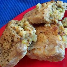Apple Stuffed Pork Chops Recipe  (Try with quinoa instead of bread crumbs and read reviews for ideas to modify)
