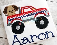 Monster Truck Dog Applique - 4 Sizes! | Tags | Machine Embroidery Designs | SWAKembroidery.com Creative Appliques