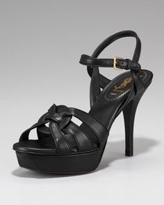 """Tribute Leather Sandal, 4"""" Heel by Yves Saint Laurent at Neiman Marcus."""
