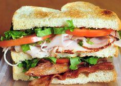 Baggin's Club  Triple toasted Italian White bread, turkey, bacon, lettuce, tomato, mayo and red onion.
