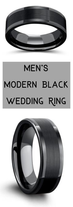 Mens modern black wedding ring. This mens wedding ring features a brushed textured top with high polished edges. Built out of tungsten carbide giving it great strength. They have so many all black wedding rings to pick from. #mensweddingring #mensweddingbands #mensblackrings