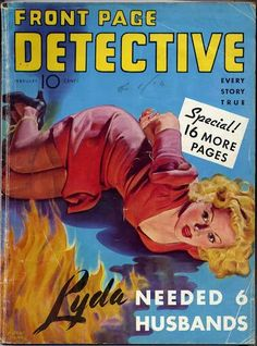 FRONT PAGE DETECTIVE cover art, pulp dame woman girl prisoner captive hostage tied bound danger peril crime arson fire burn
