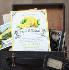 Super cute lemon themed invitation suite. Sationery: Serendipity Beyond Design #wchappyhour ---> http://www.weddingchicks.com/2014/05/31/wedding-chicks-happy-hour-8/