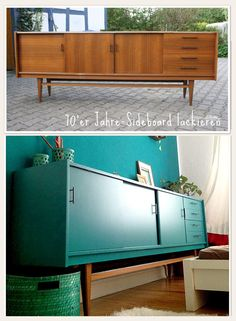 sideboard in petrol paint The post Lybstes. sideboard in petrol lacquered … appeared first on Garden ideas. Interior Design Diy, Home Decor, Recycled Furniture, Furniture Makeover, Vintage Furniture, Upcycled Home Decor, 70s Sideboard, Furniture Design, Funky Home Decor