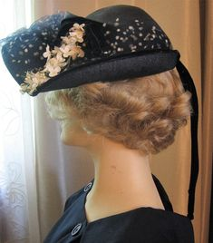 ca2411f2584 Polka Dot Veil Hat Navy Blue Woven Straw Half Brim White Millinery Flowers  Velvet Bow small break in Veil Elizabeth Ford Label Vintage 50s