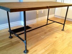 Great details, including supply list, for a DIY table with plumbing pipe legs and trestle.
