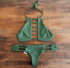 green strappy bikini