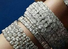 Diamond bracelets which truly are stunning. Diamond Bracelets, Diamond Jewelry, Cuff Bracelets, Bangles, Diamond Dreams, Best Diamond, Necklace Designs, Fine Jewelry, Jewelry Rings
