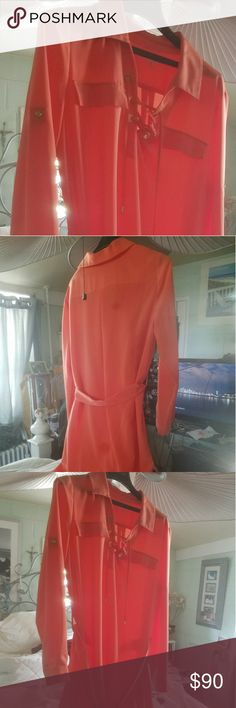 CALVIN KLEIN DRESS CORAL COLOR COME STRAIGHT AT YOU BEAUTIFUL Calvin Klein Dresses Long Sleeve
