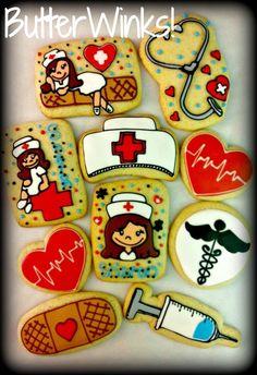 Nurse cookies :) for graduation party! Galletas Cookies, Iced Cookies, Cupcake Cookies, Sugar Cookies, Cupcakes, Nurse Grad Parties, Nurse Party, Nurse Cookies, Nurse Decor