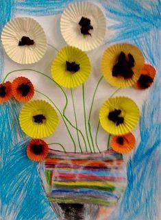 Releitura da obra Os Girassóis de Van Gogh Manualidades Van Gogh, Van Gogh Arte, Van Gogh Pinturas, Paper Art, Paper Crafts, Paper Fashion, Art Van, Reggio Emilia, Art Club