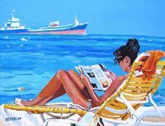 Caribbean Aruba Beach Art Print Beach walking, Sundown, Sunset Ocean painting by Gwen Meyerson Woman Beach, Beach Girls, Art Caribéen, Art Plage, Image Beautiful, Caribbean Art, Beach Watercolor, Nyc Art, Surfer