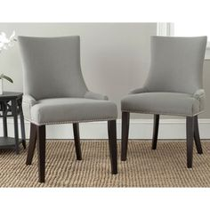 @Overstock - Safavieh Lester Granite Nailhead Dining Chairs (Set of 2) - These gorgeous Lester dining chairs by Safavieh feature beautiful nailhead detailing and elegant, gentle sloped arms with a slight hourglass shape. Upholstered in a modern granite gray linen, these chic chairs will lend posh style to your dining room.  http://www.overstock.com/Home-Garden/Safavieh-Lester-Granite-Nailhead-Dining-Chairs-Set-of-2/8306994/product.html?CID=214117 $341.99