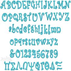 """Greek Embroidery Fonts Curlz. Curly, sassy and, funky alphabets are great sellers. View our Animal Designs for cute retro sorority or fraternity mascots to add with lettering. Comes in three sizes. Size: 1"""", 2"""" & 3"""""""
