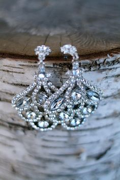 Vintage Sparkly Rhinestone Chandelier Earrings - Winter Wedding Jewelry