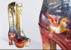 Stunning metallic glam rock 70s boots