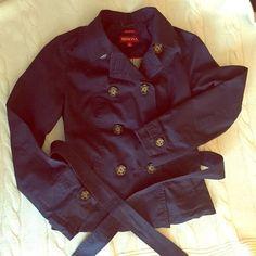 Merona short trench coat Light weight navy short trench coat. Will be great for spring! Navy blue. Wasn't worn often Merona Jackets & Coats