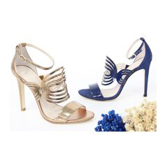 Sandália   dourada   azul   recortes   salto alto   Guilhermina Shoes