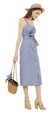 Cotton midi dress with bow Cute Dresses, Beautiful Dresses, Casual Dresses, Summer Dresses, Urban Outfits, Cool Outfits, Fashion Outfits, Dress With Bow, Dress To Impress