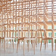 The stackable GC Chair by Kengo Kuma. This chair is inspired by the traditional Chidori-koushi (hound's-tooth) pattern.
